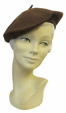 New Ladies Mid Brown Vtg WW2 Victory 1940s style Homefront Classic Beret Hat