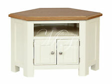 IVORY PAINTED OAK WIDESCREEN LCD PLASMA TV CORNER CABINET STAND UNIT