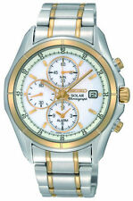 Brand New Seiko SSC002 Solar Alarm Chronograph Two Tone Stainless Men's Watch