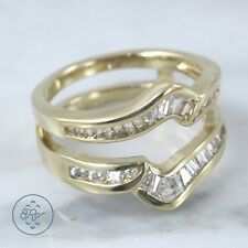 Sterling Silver - Gold Plate Crystal Baguette Double Band 5.3g - Ring (7) IC4683