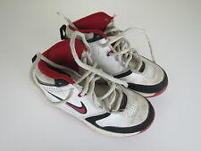 Nike Team Hustle D Hi Top Trainers 366843-103 White Red Youth Kids UK SIZE 12