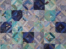 Unfinished Quilt Top- Blue Turquoise and Dark Blue Triangles, approx 57 x 57