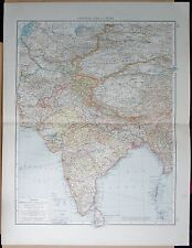 "1900 ""TIMES""  LARGE ANTIQUE MAP - CENTRAL ASIA AND INDIA"