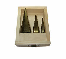 RDGTOOLS 3 PC STEP DRILL SET HIGH SPEED STEEL OPENING HOLES IN SHEET METAL