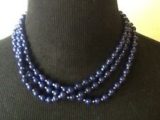 Vintage Necklace Classic Royal Blue Multi Strand Round Plastic Beads