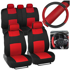 Red Black Car Seat Covers w/ Split Bench & 2 Tone Steering Wheel Cover