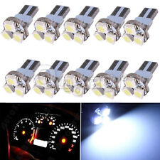 10x Pure White T5 27 Wedge 3-SMD 3528 Speedometer Gauge Cluster LED Light Bulb