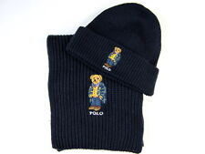 Polo Ralph Lauren Polo Bear Hat + Polo Bear Scarf  Navy Blue NWT