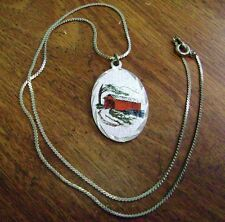 VINTAGE GENUINE PEWTER OVAL  PENDANT AND CHAIN NECKLACE- SCENIC RED BRIDGE