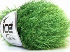 Grass Green Eyelash Yarn #22787 Ice Packers Solid Jungle Green Fun Fur 50gr