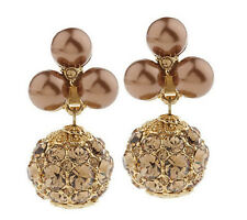 Isaac Mizrahi Live! Sparkling Pave Simulated Pearl Clip On Earrings Goldtone QVC