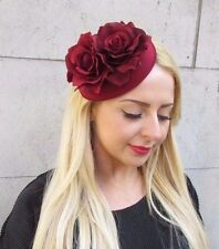 Burgundy Red Rose Flower Pillbox Hat Fascinator Races Vintage Headpiece 2377