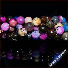 """8mm Natural Gemstone Multi Color Druzy Agate Faceted Round Beads Strand 15"""""""