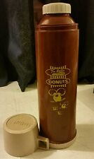"""Tim Horton Hortons Donuts Plastic Thermos Timbits Tall 13.5""""  Brown  Vintage"""