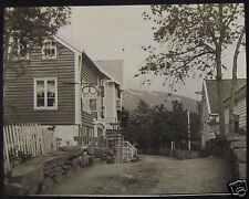 Glass Magic Lantern Slide SHOP ON STREET C1890 PHOTO SOUTH NORWAY