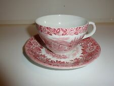 Vintage Franciscan Staffordshire 'Homeland' Cup/Saucer, Red and White