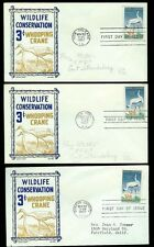 Whooping Crane Wildlife Conservation CC/Boll #1098 Set of 3 Cities Purple/Tan