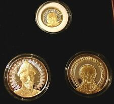 HOLY SAINTS OF RUSSIA GOLD SILVER RHODIUM PROOF 3 COIN SET LIMITED EDITION + BOX