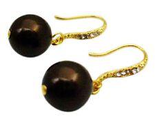 Darkest Chocolate Brown Pearl Wedding Dress Pearl Earrings Jewelry