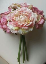 Artificial Flower tied posy.vintage coral pink Roses & Hydrangea.Small vase