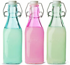 Set Of 6 250ml Kilner Vintage Colour Glass Oil Flip Swing Top Preserving Bottles