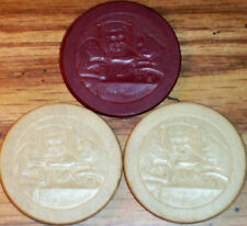 Lot 3 Old Embossed STOP MONKEYING Casino Poker Chips Vintage Antique PC-RA