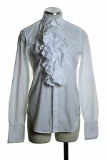 RALPH LAUREN SPORT 100% Cotton Ruffle Fitted Tuxedo Shirt Blouse Top Size 4 *K90
