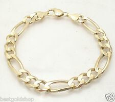 "9"" 9mm Mens Royal Figaro Bracelet Real Solid 14K Yellow Gold Great Gift Idea"