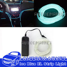 5M Ice Blue Interior Light Cold Car LED EL Neon Lamp Atmosphere Glow Strip Bulbs
