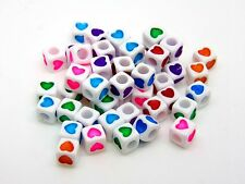 50 Pcs -  7mm White Cube Heart Spacer Beads Mixed Colour Hearts Kids Craft O185