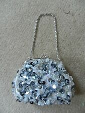 BHS silver sequin/bead evening hand bag RRP £20