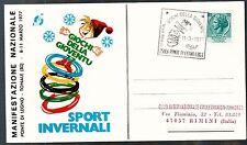 1977 GIOCHI DELLA GIOVENTU' ANNULLO SPECIALE SPORT INVERNALI PONTE DI LEGNO BS