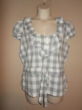 Robert Louis Womens Size XL Plaid Gray & White Blouse Cap Sleeves Ties in Front