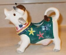 Vintage Cow Creamer with Green Vest and Flowers , Hand-Painted