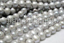 "9-10MM ROUNDEL SILVER GRAY NATURAL FRESHWATER CULTURED PEARL LOOSE BEADS 15"" AAA"