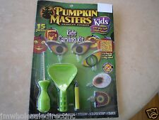 New ! 15 pieces Pumpkin Masters Kids Carving Kit Easy Grip Tools Simple Patterns