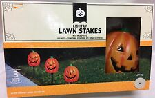 Halloween Animated 3 Pumpkin Lawn Stakes Light Up Sensor Activated Sound Effect