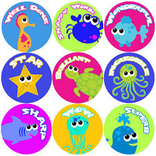 144 Sea Life Creatures Praise Words 30mm Reward Stickers for Teacher, Parent
