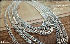 "3 CURB CHAIN Men Necklace 24"" Real 925 Sterling Silver Italy 3 mm WHOLESALE LOT!"