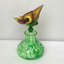 """Green Art Glass Perfume Bottle With Yellow Multi Butterfly Stopper 4.5"""" Vintage"""