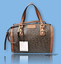 Women Calvin Klein Hudson CK Brown Logo Monogram Satchel Handbag NEW