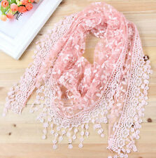 New Lace Neckerchief Tassel Flower Floral Print Lady Scarf Triangle Shawl Beauty