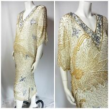 LINSIANO Vintage 2 piece 100% Silk Sequence & Beaded evening Dress and Tunic