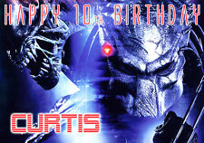 Alien Aliens Vs Predator inspired Birthday Xmas PERSONALISED film Art Card AVP