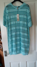 TOPSHOP -  £58 - knitted pointelle stitch tunic jumper - aqua - size 10 - BNWT