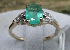 1.04 cts Genuine Zambian Emerald Solitaire Size 7 Ring in 10k Gold w/ Diamonds