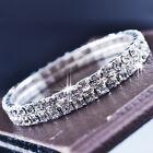 Elegant Women Silver Tone Diamante Clear 2 Row Stretchy Bracelet Jewelry Gift