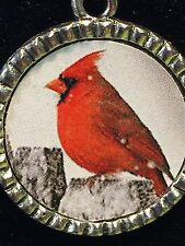 """Bird Cardinal Red on Fence in Snow Charm Tibetan Silver with 18"""" Necklace G54"""