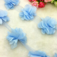 New Hot 1 Yard Sky Blue Flower Chiffon Wedding Dress Bridal Fabric Lace Trim