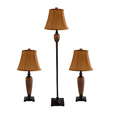 Elegant Designs Hammered Bronze Lamp Set (2 Table Lamps, 1 Floor Lamp)
